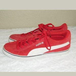 11.5 Puma S Vulc High Risk RedWhite Suede Sneakers